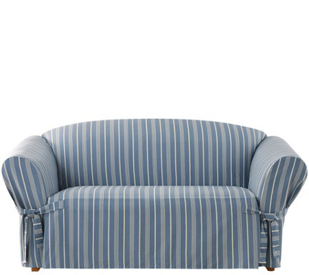 Sure Fit Grain Sack Stripe Love Seat Slipcover