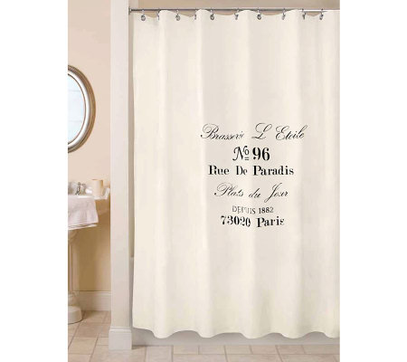 Vintage House Brasserie NaturalBlack Shower Curtain Page - Shower curtain with words