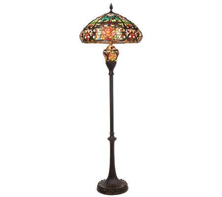 Tiffany Style Splendid Garden Floor Lamp With Lit Base By