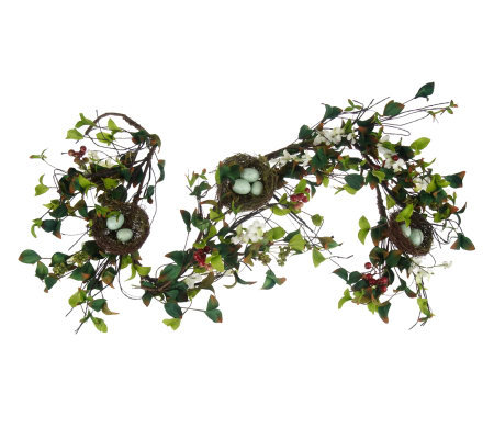 5' Dogwood & Berry Garland w/ Bird Nest Accents by Valerie