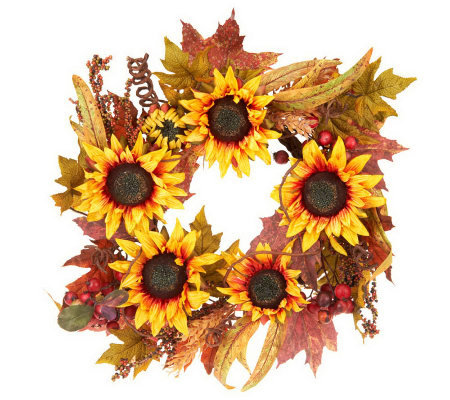 "Sunflower Berry and Leaves 24"" Wreath by Valerie"