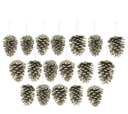 18-piece Glittered Pinecone Ornaments