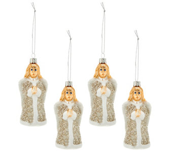 Set of 4 Embellished Glass Vintage Inspired Ornaments - H206415