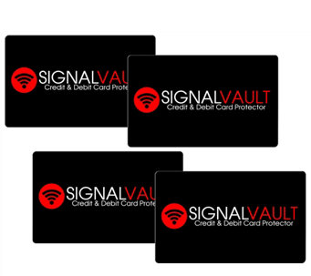"""As Is"" SignalVault Set of 4 Debit & Credit Card Protectors - H208115"