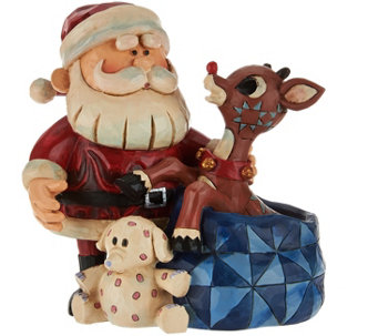Jim Shore Light-Up Santa and Rudolph Figurine - H209215