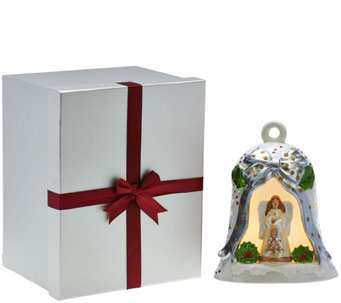 Kringle Express Lit Porcelain Bell with Holiday Scene and Gift Box - H209815