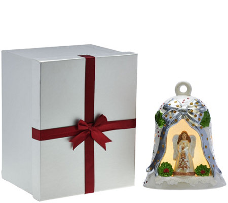 Kringle Express Lit Porcelain Bell with Holiday Scene and Gift Box