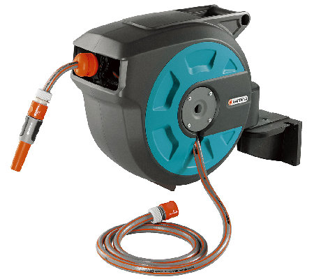 Gardena Auto Roll Up Swivel Hose Reel with 50'Hose