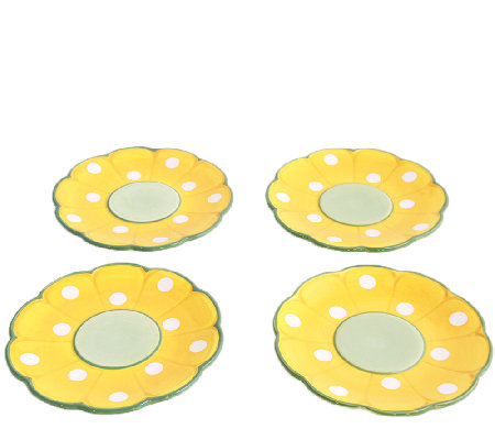 Temp-tations Set of 4 Friendship Flower DessertPlates