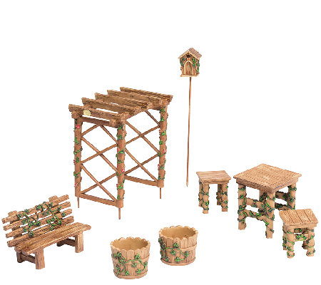 Plow & Hearth Miniature Fairy Garden Ivy Furniture Set