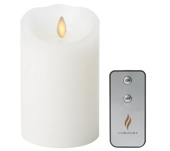 "Luminara 5"" White Unscented Flameless Candle w/Remote - H288615"
