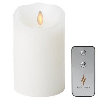 "Luminara 5"" White Unscented Flameless Candle w/Remote"