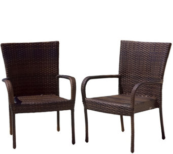 Denise Austin Home Set/2 Outdoor Wicker BrownClub Chairs - H289415
