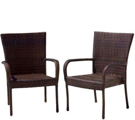 Denise Austin Home Set/2 Outdoor Wicker BrownClub Chairs