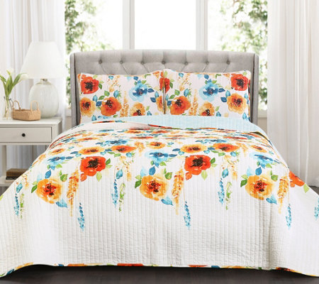 Percy Bloom Tangerine 3-Piece Full/Queen QuiltSet Lush Decor
