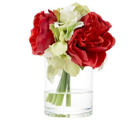 Hydrangea and Rose Red Artificial Flowers by Pure Garden