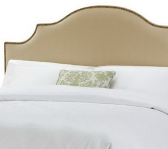 Linda Dano Linen Nail Button Notched King Headboard - H349015