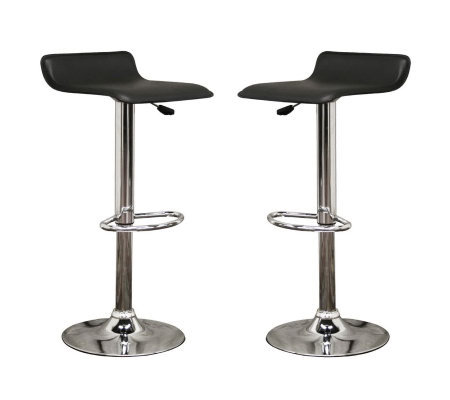 Vita Set of 2 Black Faux Leather Modern Barstools