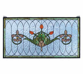 Tiffany Style Tulips and Fleurs Window Panel -19x36 - H131316