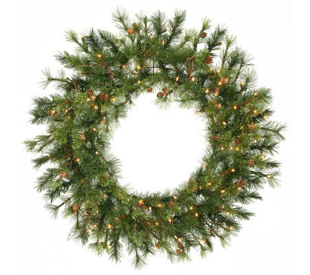 36 Prelit Mixed Country Pine Wreath by Vickerman