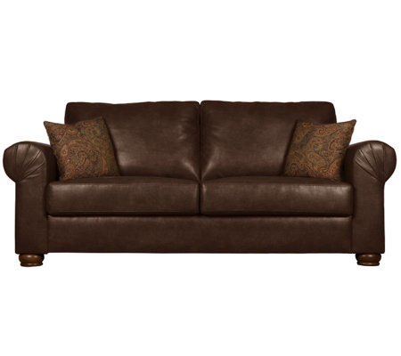 Handy Living Oxford Bonded Leather Brown Sofa &Paisley Pillows