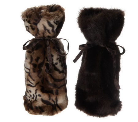 Dennis Basso Set of 2 Faux Fur Wine Bottle Gift Bags