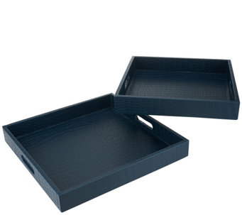 Dennis Basso Set of 2 Faux Crocodile Decorative Nesting Trays - H204616