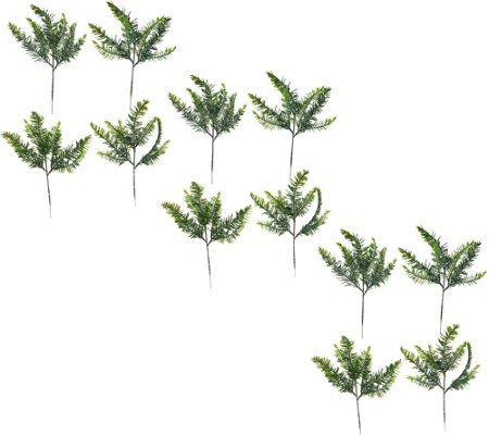 Set of 12 Frosted Spruce Evergreen Picks