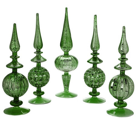 """As Is"" Set of 5 Elegant Mercury Glass Finials"
