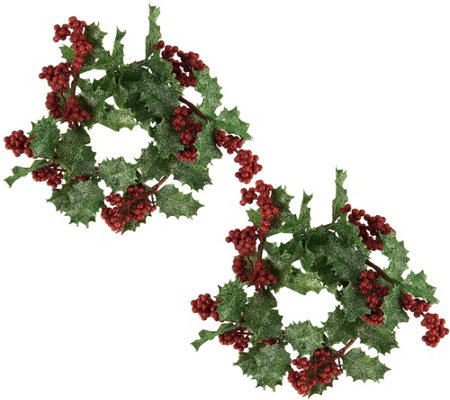 Set Of 2 Glitter Holly Berry Candle Rings By Valerie Qvc Com
