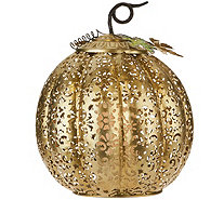 "13.5"" Lit Punched Metal Pumpkin by Home Reflections - H212816"