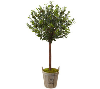 Olive Topiary Tree with Farmhouse Planter by Nearly Natural - H290616