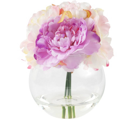 Pure Garden Pink Peony Floral Arrangement withGlass Vase