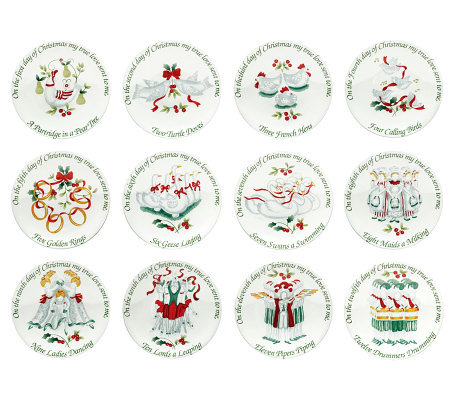 pfaltzgraff winterberry 12 days of christmas appetizer plates - Horderves Plates