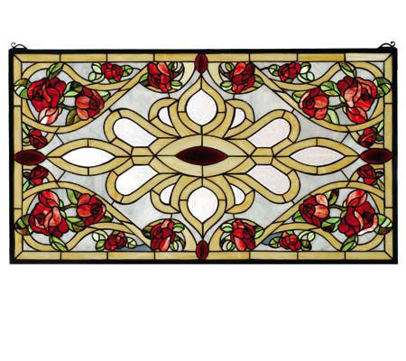 Meyda Tiffany-Style Rose Rectangle Window Panel