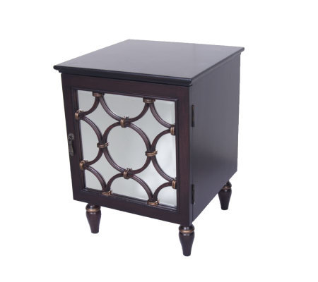 HomeReflections Aria Mirrored End Table with Two Shelves