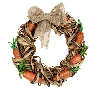 "15"" Raffia Carrot Wreath with Removable Burlap Bow by Valerie - H202417"