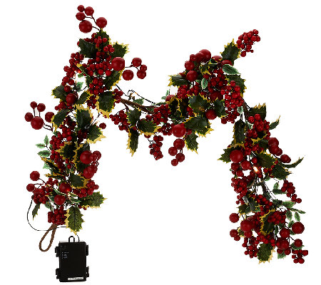 "20"" Illuminated Berry Wreath or 4' Berry Garland by Valerie"