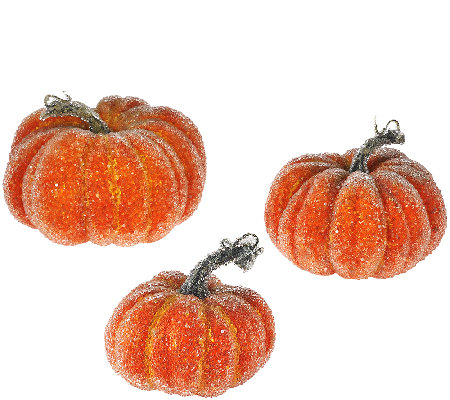 Set of 3 Decorative Beaded Pumpkins