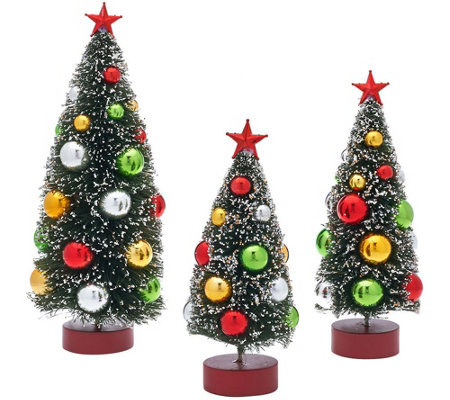 set of 3 graduated bottle brush trees with decorations - Bottle Brush Christmas Trees