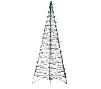 """As Is"" Pre-Lit LED 6' Fold Flat Outdoor Christmas Tree by Lori Greiner - H208317"
