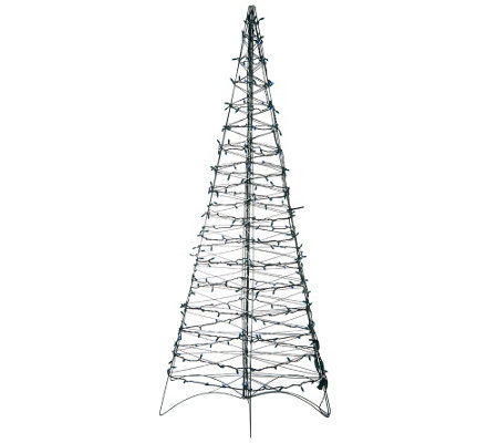 """As Is"" Pre-Lit LED 6' Fold Flat Outdoor Christmas Tree by Lori Greiner"