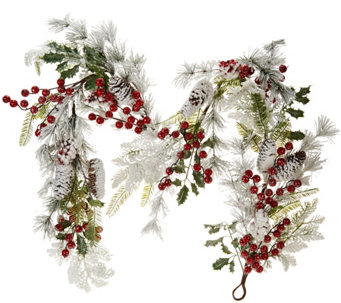 5' Flocked Garland with Red Berries and Cones by Valerie - H209117