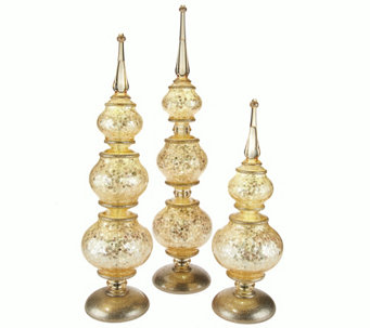"""As Is"" Set of 3 Illuminated Sparkle Sequin Finials by Valerie - H210317"