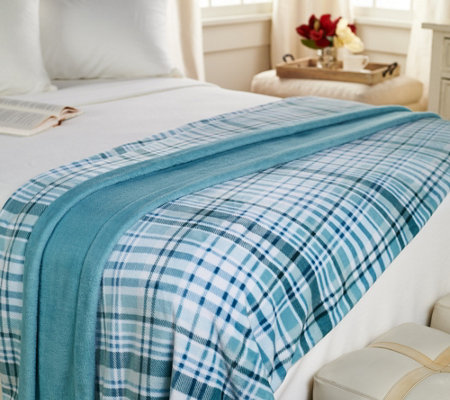 berkshire blanket twin velvet soft plaid blanket — qvc