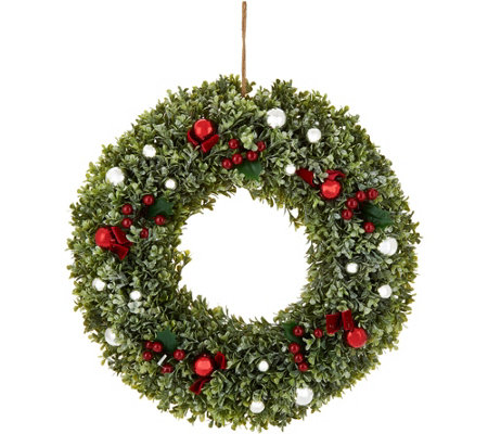 "20"" Boxwood, Berry, and Ornament Wreath by Valerie"