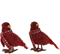 Set of 2 Glittered Cardinals with Plaid Scarves by Valerie - H211917