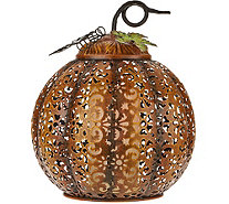 "11"" Lit Punched Metal Pumpkin by Home Reflections - H212817"