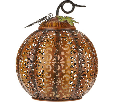"11"" Lit Punched Metal Pumpkin by Home Reflections"