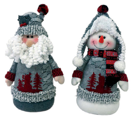 "13"" Set of 2 Arctic Santa and Snowman by Santa's Workshop"